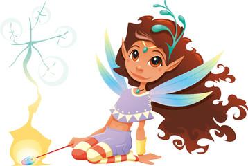 Fairy girl with magic wand. Cartoon and vector character.