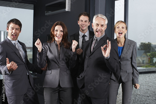 Enthusiastic business team