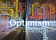 Optimism word cloud glowing