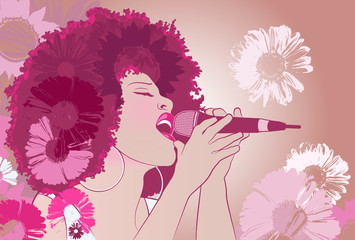 Vector illustration of a jazz singer