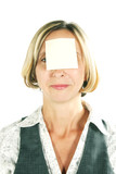 Business woman with blanck paper on forehead poster