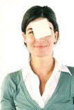 Woman with blank message on forehead poster