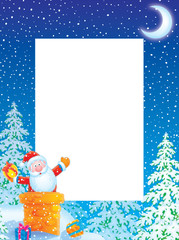 Christmas photo frame / border with Santa Claus