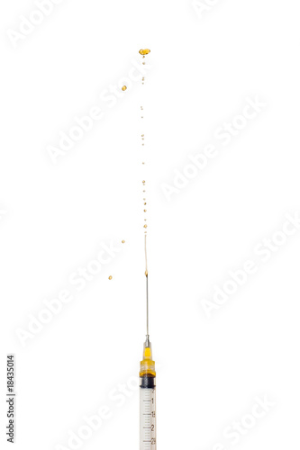 Syringe with Hypodermic Needle Squirting Liquid