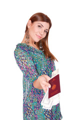 Excited traveler with her passport