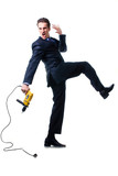 screaming young businessman holding drill