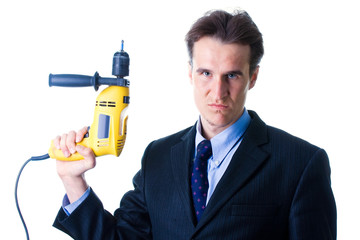 portrait of dread businessman holding drill