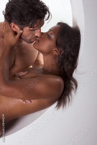 Young couple naked Man and woman making love