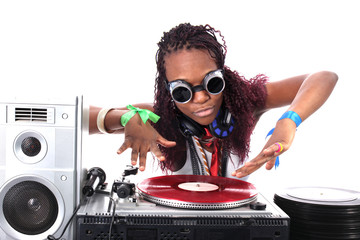 cool afro american DJ in action isolated on white