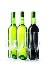 Bottle and glass isolated on the white
