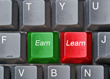 Keyboard with hot keys for earn and learn poster