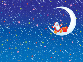 Christmas background with Santa Claus sitting on a moon