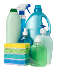 Blue and green containers of cleaning supplies