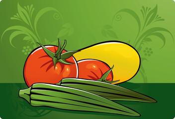 Vegetables in green background