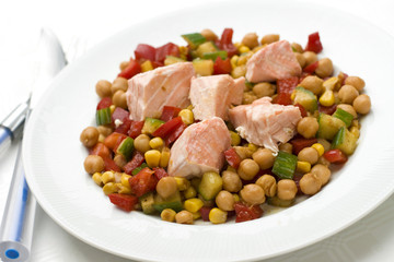 chickpea salad with steamed salmon