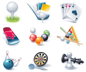 Vector cartoon style icon set. Part 36. Sport