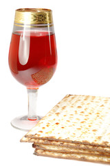 Passover celebration still life with red wine and matza