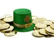 St. Patricks Day Decoration with Gold coins and a hat
