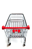 Red supermarket shopping cart on white