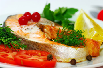 Fish dish - grilled fish with vegetables