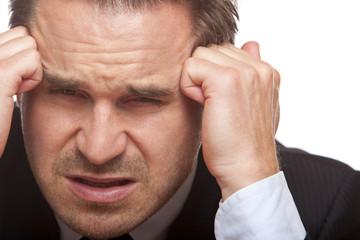 Stressed business man has bad headache  - Kopfweh