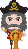 pirate captain standing next too ship wheel poster