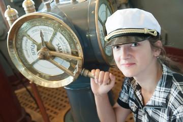 girl near  speed telegraph transmitter