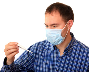 Man in medical mask with a thermometer.