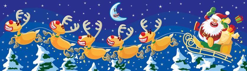 Santa and reindeers at night