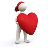 Fototapety 3D Man holding Heart