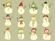 12 Schneemänner im Vektorformat