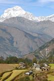 Nepalese village in annapurna  area, Dhaulagiri peak poster