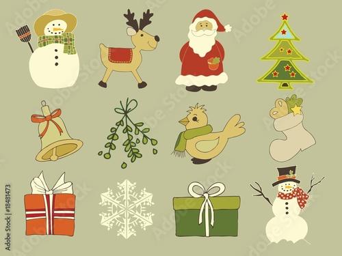 12 Weihnachtssymbole im Vektorformat
