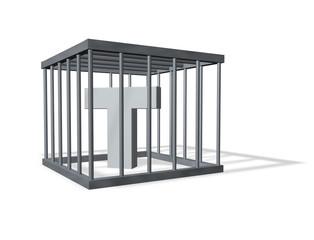 der buchstabe t in einem käfig