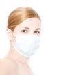 girl in a mask. Epidemic. H1N1