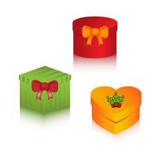 Set of christmas gift boxes