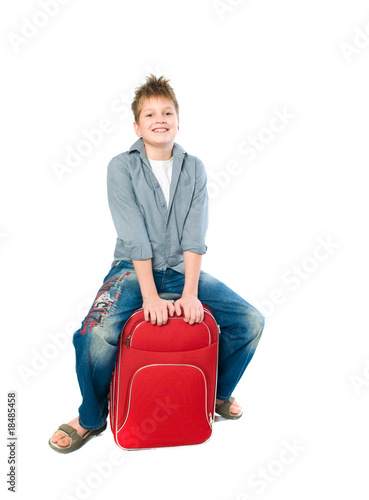teenager with a suitcase.