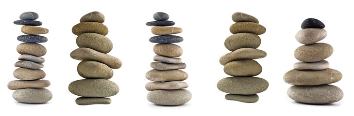 Collection of Balanced stone stacks or towers