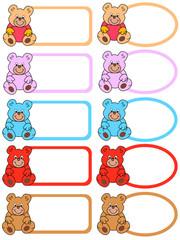 farbige etiketten mit teddybären