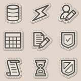 Database web icons, brown contour sticker series poster