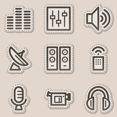 Media web icons, brown contour sticker series