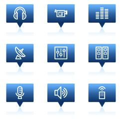 Media web icons, blue speech bubbles series