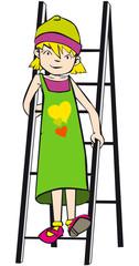 niña bajando escalera