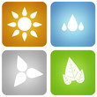 colorful four elements icons isolated on white