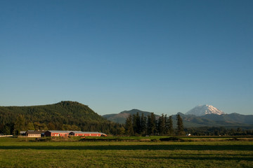 Mount Rainier and Rural Farm