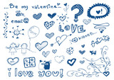 freehand elements with love / doodles style set / vector poster