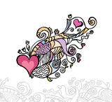 Heart of love / doodle vector illustration poster