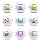 Database web colour icons, white circle buttons series poster
