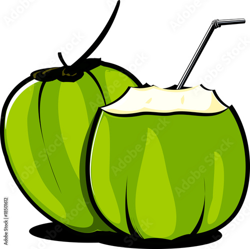 Illustration of tender coconuts and straw