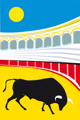 bull bullfighter Vector Illustration